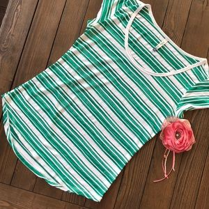 Wallflower green and white striped T-shirt